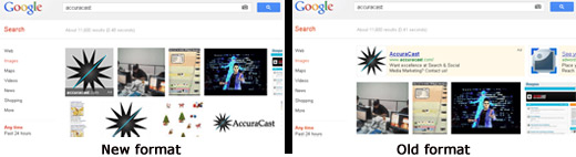 Comparison of old and new Google Image Search ads