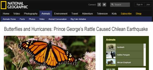 National Geographic headline: Butterflies and Hurricanes: Prince George's Rattle Now Known To Have Caused The Chilean Earthquake