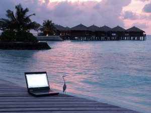 Laptop on holiday